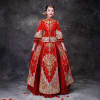 Red Wedding Bride Chinese Style Cheongsam Traditional Lady Long Qipao Embroidery Women's Evening Dress marry Clothes S XXXL