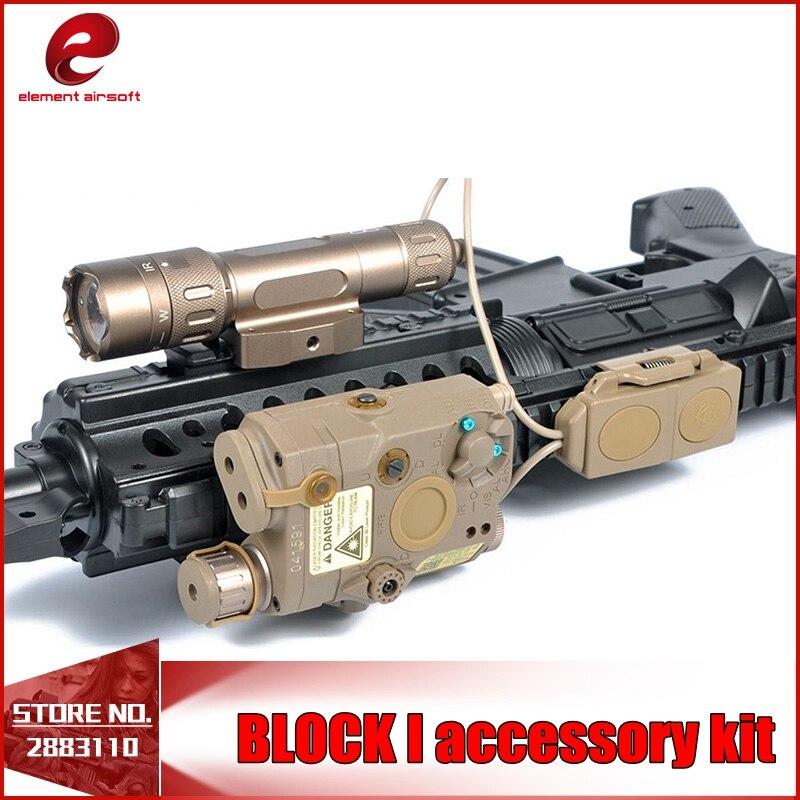 Element Airsoft Block I Accessory Kit LA-PEQ15 Laser Flashlight M3X Tactical Illiuminator Double Remote Control EX423 20MM Rails