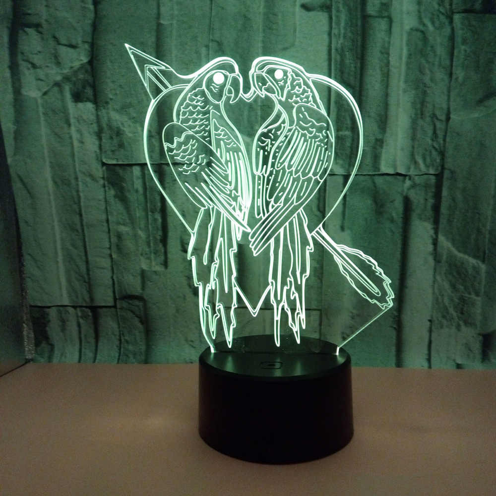Parrot Colorful 3d  Desk Lamp Bird Remote Touch switch  Table Lamps For Living Room 7 color change baby room 3D Nightlight