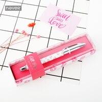 Nunca rosa femenino de Metal bolígrafo de gel 0.5mm Negro tinta bolígrafo Cancillería estudiante coreano regalo papelería de oficina y escolares suministros