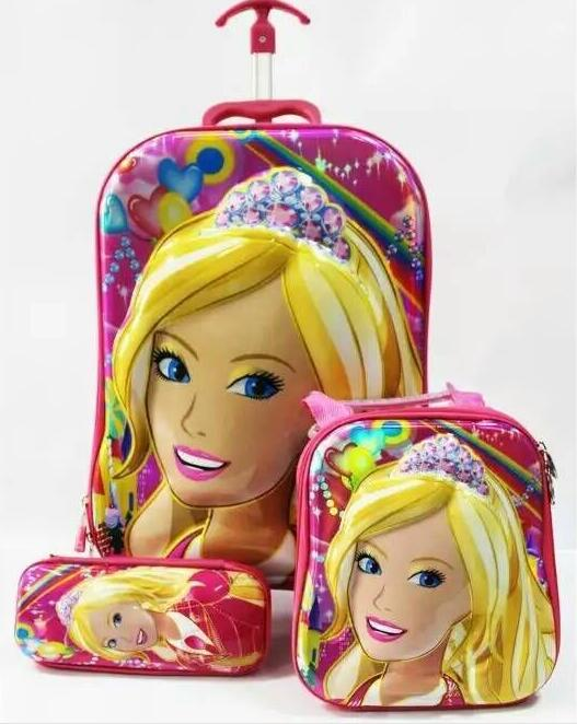 ФОТО Free shipping New  Barbie 6D  travel suitcase sets   (lunch box + pen boxes+trolley luggage ) 16 inch EVA wheel bag trolley