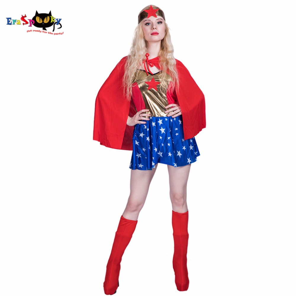 2017 Wonder Woman Cosplay Justice League Supergirl Cosplay Superwomen Costume for Adult Girl Female Halloween Costumes Christmas