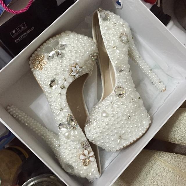 NEW pearl wedding shoes rhinestone crystal women's formal dress shoes pearl high heels platform flower single plus size shoes