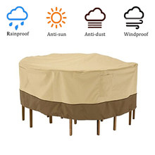 Garden Table Cover Round Tablecloth Patio Outdoor Furniture Set Shelter 240x60cm Protective Cover Accessories Beige Waterproof(China)