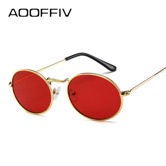 91ab1e32a3 AOOFFIV Ladies Classic Red Oval Sunglasses Women Men Retro Metal Frame Wrap Coating  Mirror Sun Glasses for Female