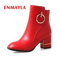 ENMAYLA 2018 Fashion Woman Ankle Boots Zip Short Plush Ladies Shoes Zip Square Toe Metal Decoration Shoes Female Red Black