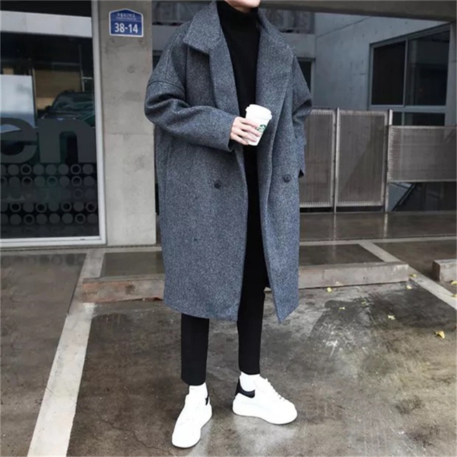 52cb76bb8 2018 Winter Men's Fashion Trend Wool Blend Thicken Parkas Loose Cashmere  Long Coats Casual Black/Grey Overcoat Windbreaker M-XL