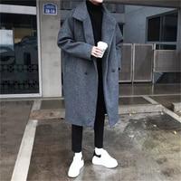 2018 Winter Men's Fashion Trend Wool Blend Thicken Parkas Loose Cashmere Long Coats Casual Black/Grey Overcoat Windbreaker M XL