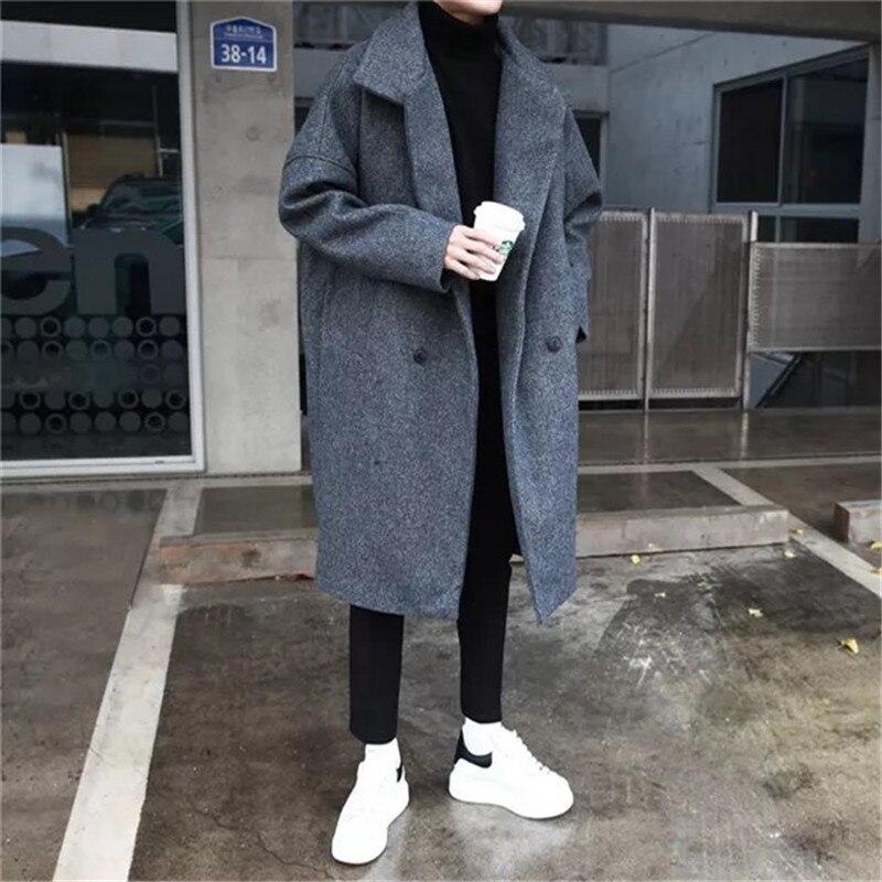 2018 зимние Мужская Мода Тренд полушерстяные утепленные парки свободные кашемировые длинные пальто Повседневное черный/серый пальто ветровка M XL