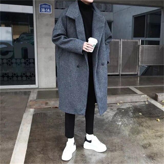 2018 зимние Мужская Мода Тренд полушерстяные утепленные парки свободные Кашемир длинные пальто Повседневное черный/серый пальто ветровка M-XL