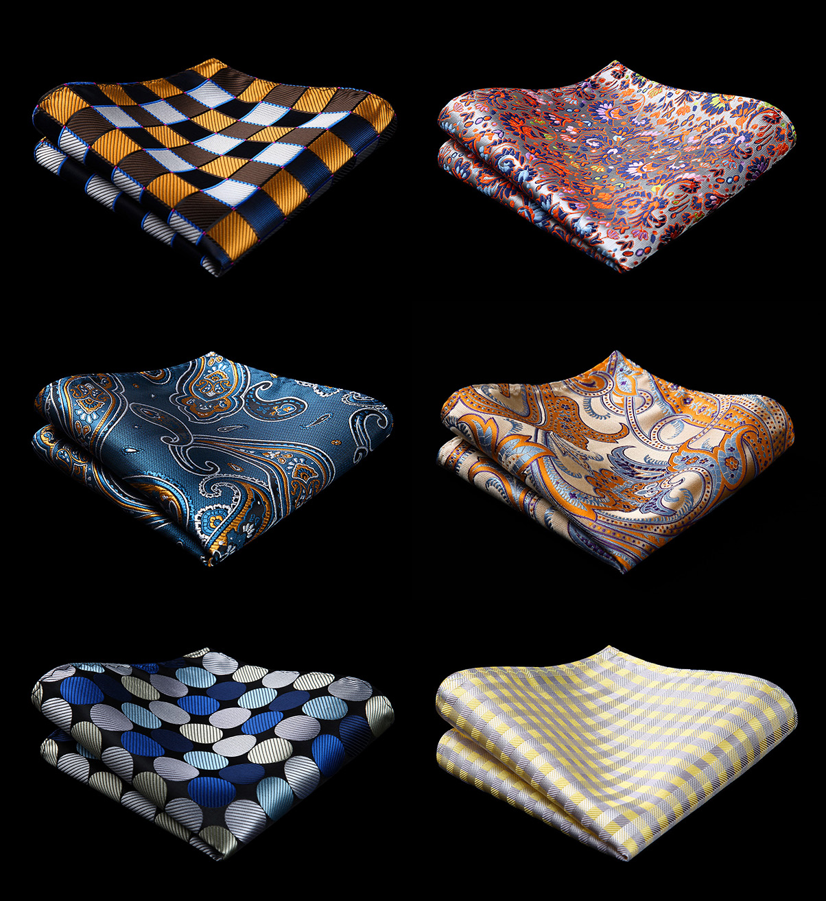 Men Fashion Wedding Party Paisley Plaid Floral Pocket Square Business 6 Pcs 25 X 25 Cm Handkerchief  Gift Box Set