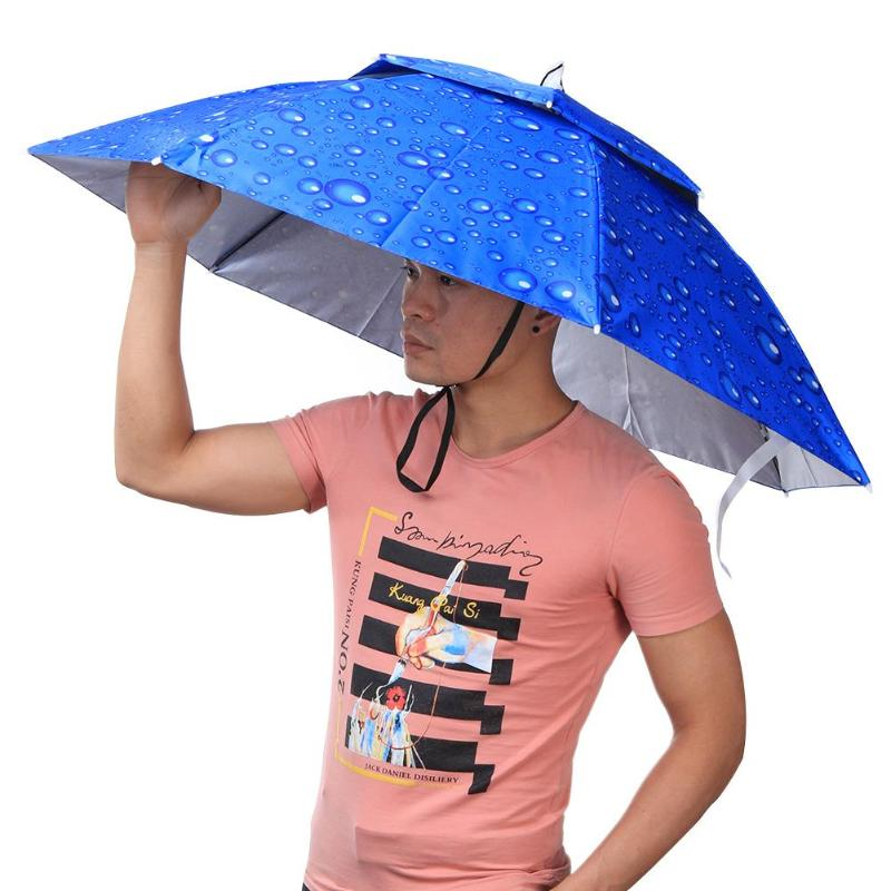2 Layer Folding Umbrella Hat Cap Headwear Umbrella Wind Proof Headwear Umbrella Hat Cap Rain Gear for Fishing Hiking Camping