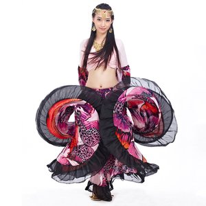 Image 5 - 2018 Hoge Kwaliteit Goedkope Gypsy Buikdans Rokken Voor Vrouwen Grote Bloemen Dans Kostuum NMMQB01