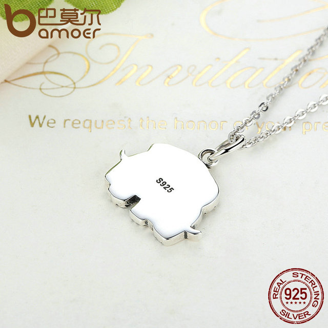 Sterling Silver Cute Elephant Hug Pendant Necklaces