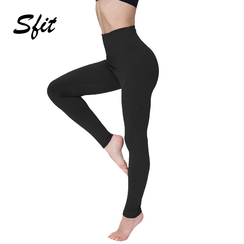 Sfit Women's Empire Waist Tummy Compression Control Top Leggings High Waist Yoga Pants Workout Slimming Solid Leggings Plus Size