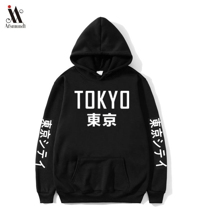 2020 New  Japan Harajuku Hoodies Tokyo City Printing Pullover Sweatshirt Casual Hip Hop Streetwear Off White  Male Tops 3XL