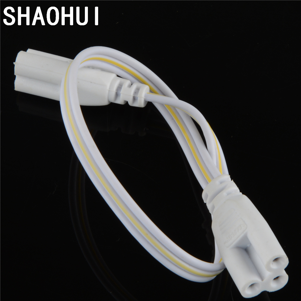 10pcs/lot 3 pin LED Tube Connector T4 T5 Double-end Cable Wire 300mm For T4 T5 T8 Led Lamp Lighting Connecting free shipping