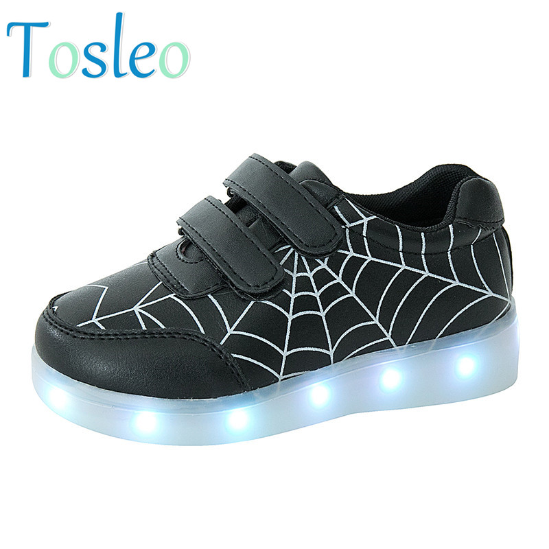 2018 Tosleo Led Kids shoes Spider Printed Boys Flats Shoes Spring Kids Leather Shoes Spring Children Spring Flats