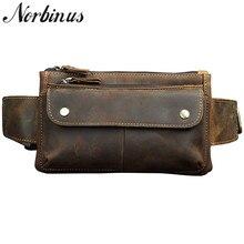 Norbinus натуральная кожа поясная сумка из натуральной кожи нагрудная Мужская сумка Сумка для кошелька для телефона дорожная поясная сумка