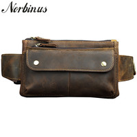 Norbinus Men Natural Leather Fanny Pack Male Genuine Leather Sling Chest Bags Men Pouch for Wallet Phone Travel Waist Belt Bag