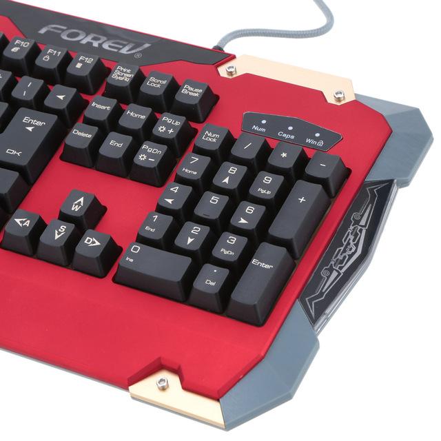 FOREV Professional Gaming Keyboard 19 Key Anti Ghosting Imitation Mechanical Gamer Keyboard USB Wired 3 LED for Laptop Desktop