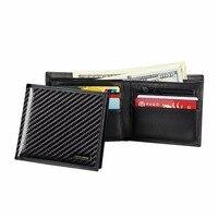 Wallet Men Leather Genuine Leather Luxury Business Real Carbon Fiber Men Wallet Bifold Carteira Billetera Mens Purse