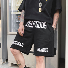 Letter Printed Shorts Sporting Men's Casual Shorts Summer Hip Hop Elastic Drawstring Streetwear Shorts beach Shorts Oversize 5XL недорого