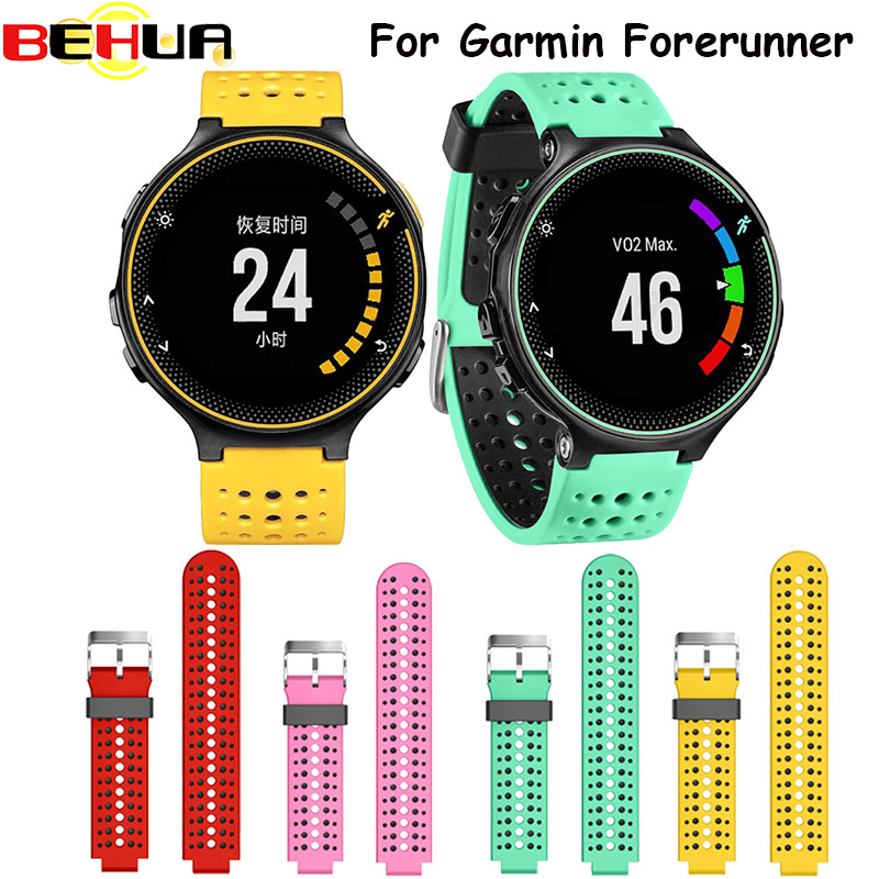 Two colors 2in1 Watchband Soft Silicone Replacement Wrist Watch Band bracelet strap For Garmin Forerunner 220/230/235/620/630 casio часы casio mtp 1379l 7b коллекция analog