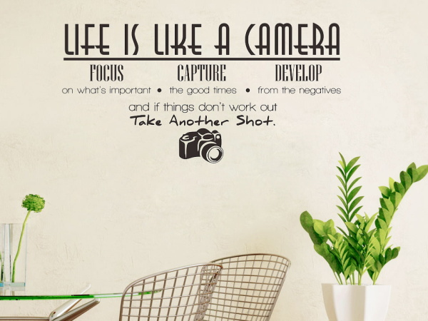 Aliexpresscom Buy Hot Sale Life Is Like A Camera Quote Wall - Wall decals like wallpaper
