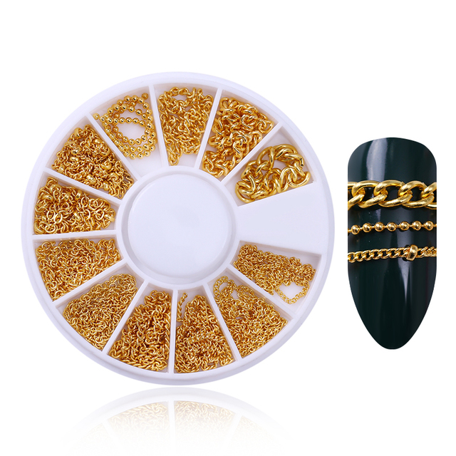 Metal Chain Gold 3D Nail Decoration in Wheel Metal Beads Multi-size Manicure DIY Nail Art Decorations Body Art