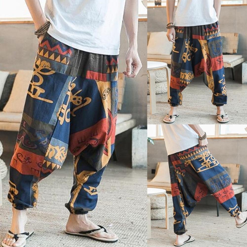 New Fashion Men Hip Hop Baggy Floral Print Harem Pants Wide Leg Casual Long Trousers(China)