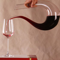 1 PC New Arrival Fashion Crystal Glass U shaped Horn Wine Decanter Wine Pourer Wine Container Home Party Use P40