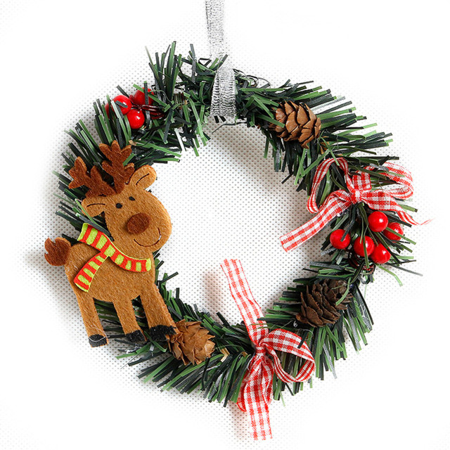 1pcs Snowman Christmas Deer Cloth Art Wreath Rattan Reed Wreath Garland Christmas Decoration Ornaments Party Supplies Home Decor 4