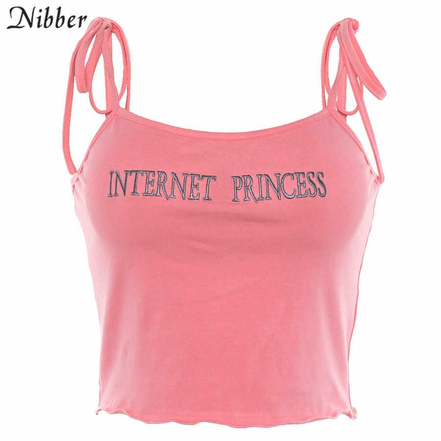 Nibber летние милые розовые топы с вышивкой Женская майка 2019 уличная мода дикая майка для девушек повседневные хлопковые футболки mujer
