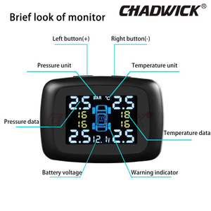 Image 5 - Digital Tire Pressure Monitoring System 12V TPMS Tire Pressure car Alarm internal sensor cigarette lighter power CHADWICK TP620E