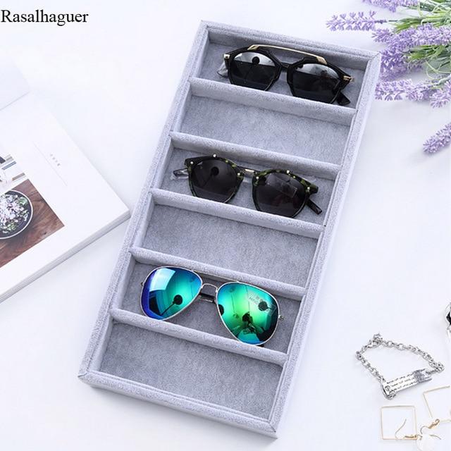 Лен/бархат 6 сетки солнцезащитные очки Дисплей коробка Подставка для украшений упаковочный реквизит ювелирные изделия Организатор лоток моды случаи упаковка