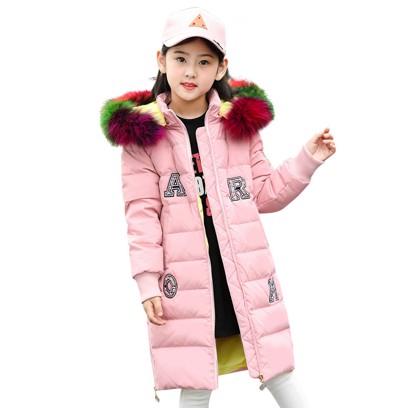 Children's Winter Down Warm Jacket Cotton-padded Jacket White Duck Down Clothes Winter Jacket Park for Girl Winter Coat new obese men hooded down jacket in winter jacket coat plus size7xl8xl cotton padded clothes to keep warm and high quality coat