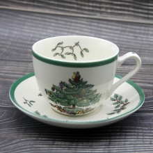1 Sets Christmas Tree Tea Cup With Plate and Spoon European Style Saucer Set Fine Bone China Coffee Ceramic