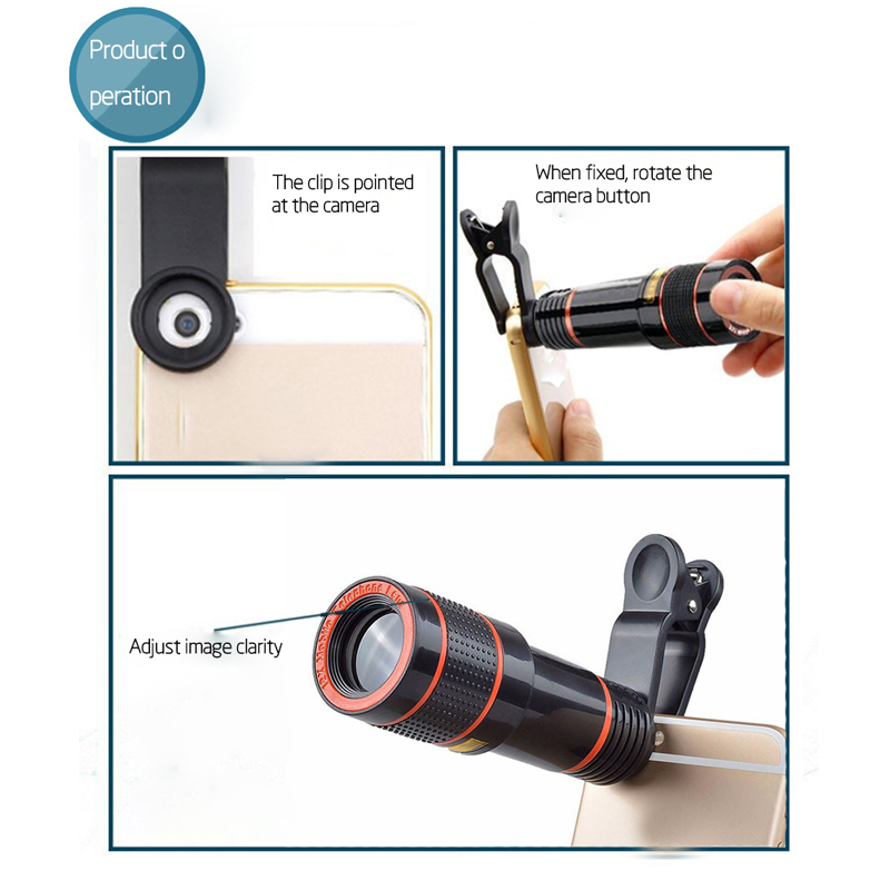 Clip-on 12x Optical Zoom Mobile Phone Telescope Lens HD Telescope Camera Lens For Universal Phones black one size 6