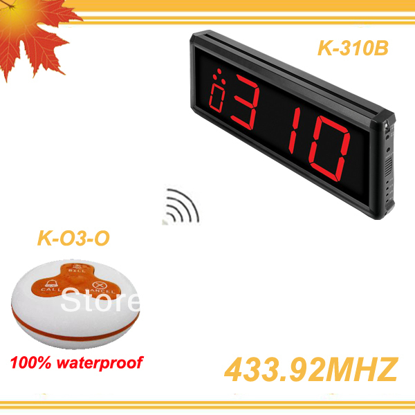 433.92MHZ QuickBell Wireless system to call to mesero of 1 display screen and 30pcs call bell buzzer O3