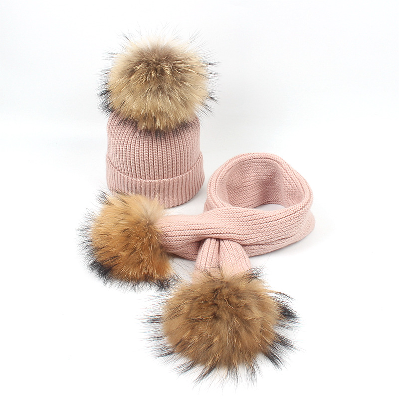 Children Winter Warm Knitted Hat Cap With Scarves Thickened Wool For 6M- 6 Years Old Girls Boys Fur Pompoms Hats Scarf Set