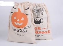 Cotton Canvas Halloween Sack  Children favor Candy cloth Gift Bag Party Pumpkin Spider treat or trick Drawstring Bags COS PROPS
