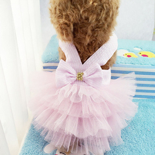 Summer Pet Dog Dress Princess Striped Breathable Skirt Blue Pink Bow-knot Chiffon Clothes Chihuahua Teddy Clothing Supplies