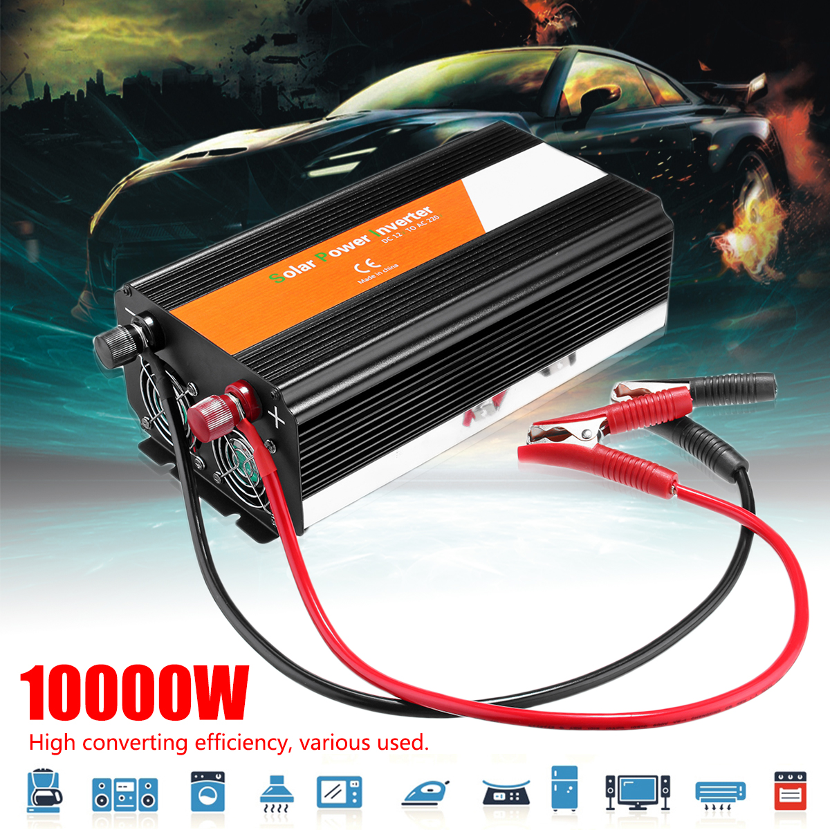 Wave Converter P EAK 10000W Voltage Transformer Car Inverter 12/24V To 220/110V Modified Sine Fuse High Efficiency Automotive bruder пикап ram 2500