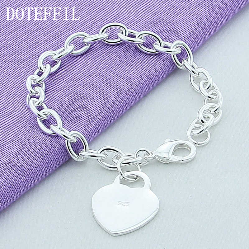 Luxury 925 Silver Color Bracelets Heart Charm Bracelet High Quality Men Women Fine Fashion Silver Color Bracelet