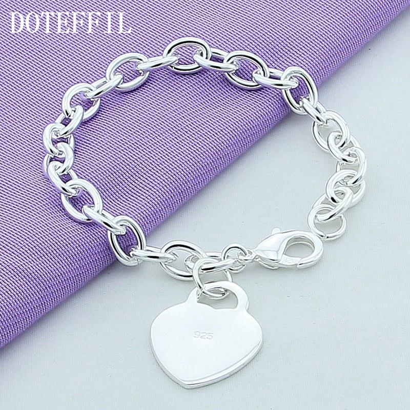 Lyx 925 Sterling Silver Armband Hjärta Charm Armband Högkvalitativa Män Kvinnor Fin Fashion Plated Silver Armband