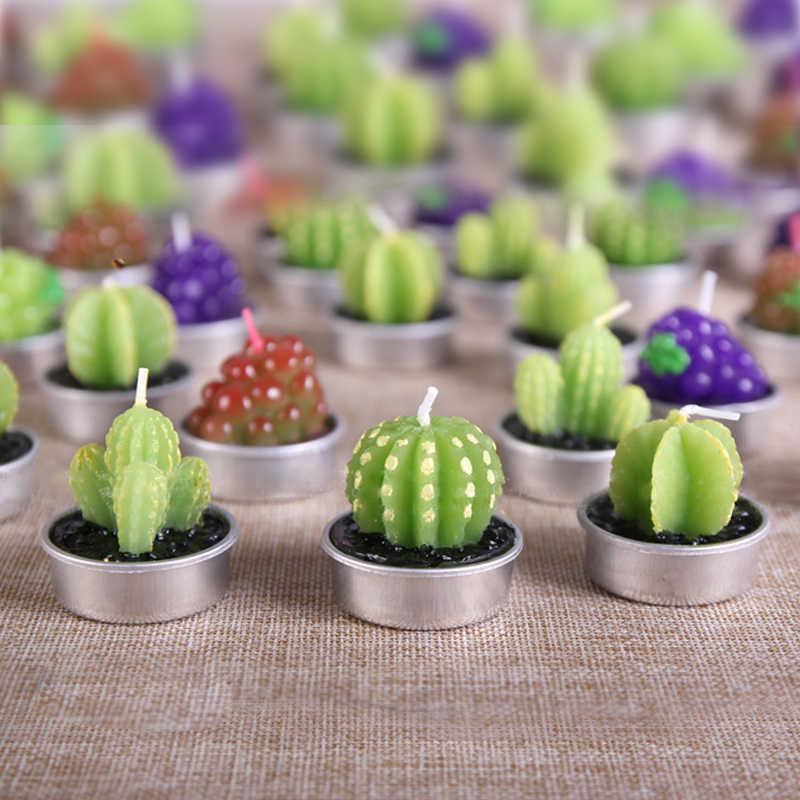 Criativo 3d cactus velas simuladas plantas sem fumaça scented vela dia dos namorados presente festa ornamento decoração para casa 1 pc