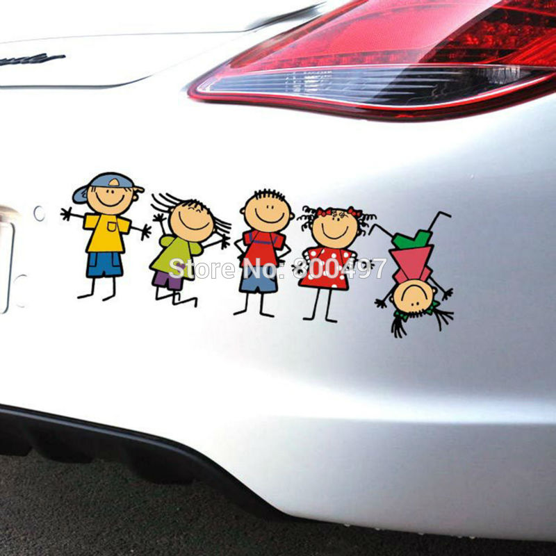 10 x Car Styling Cover Cartoon Childhood Happy Family Naughty Kids Car Sticker Decals for Toyota Ford Chevrolet Volkswagen Honda