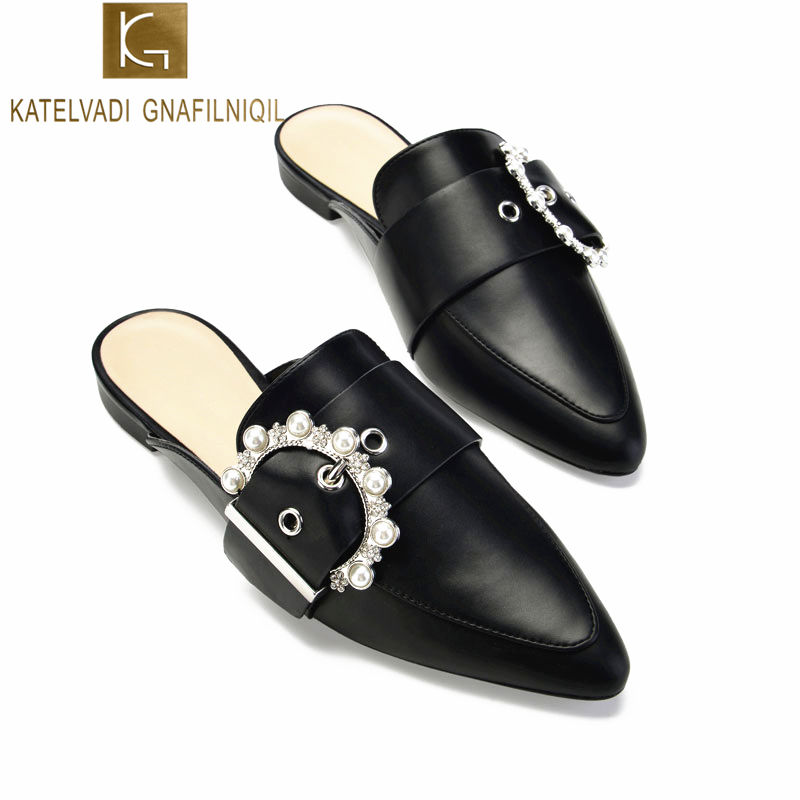 KATELVADI Fashion Women Mules Black PU Leather Slippers With Pearl Buckles Summer Shoes Woman Flats Size 34-40 K-351