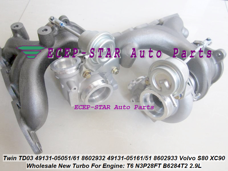 Twin Turbo TD03 49131-05050 49131-05060 49131-05150 49131-05160 8602932 8602933 For Volvo S80 XC90 2.9T N3P28FT B6284T B6284T2